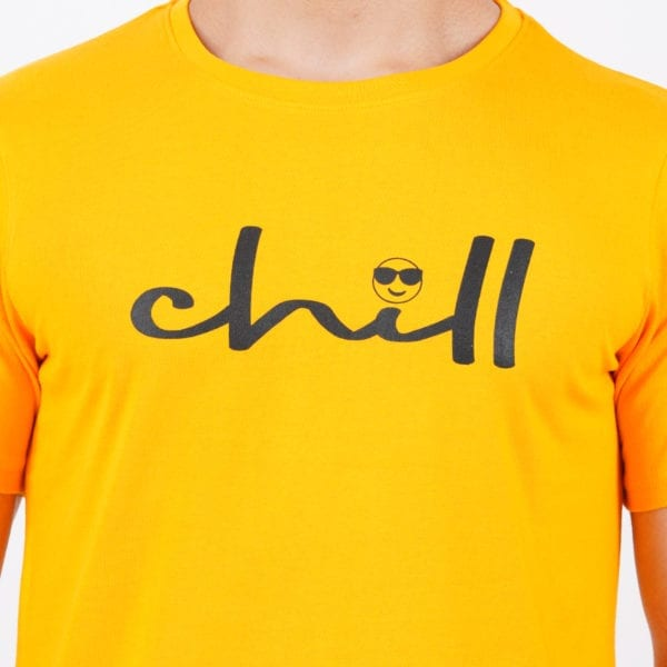 Printed Mens Round or Crew neck Chill Yellow T Shirt Print