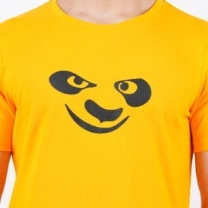 Printed Round or Crew neck Kungfu Panda Yellow T Shirt Print