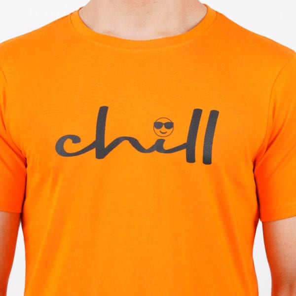 Typography Mens Round neck Chill Orange T Shirt Print