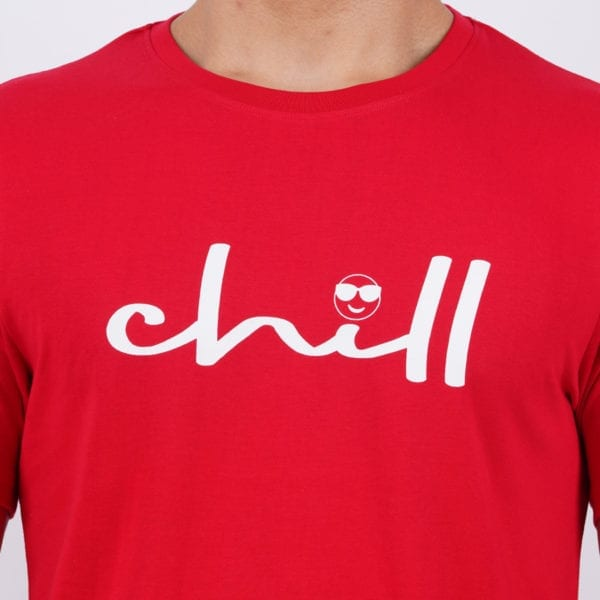 Graphic Printed Mens Round neck Chill Red T Shirt Print