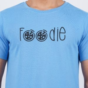 Typography Mens Round neck Foodie Dark Blue T Shirt Print