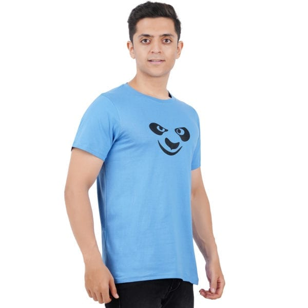 Typography Round neck Kungfu Panda Dark Blue T Shirt