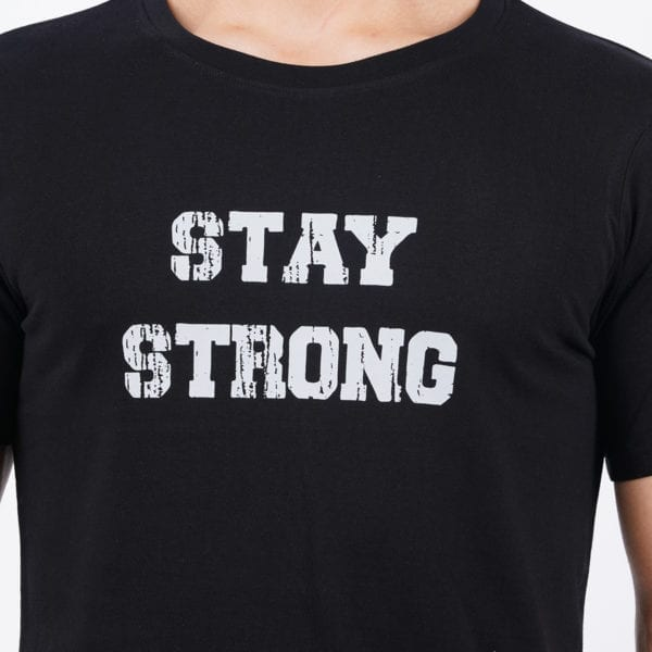 Graphic Printed Round neck Stay Strong Black Mens T Shirt Print