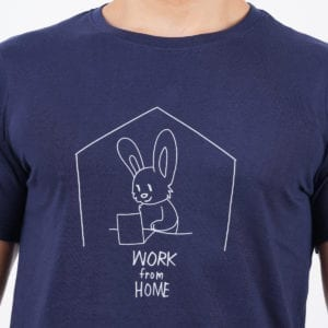 Printed Round or Crew neck Work From Home Navy T Shirt Print