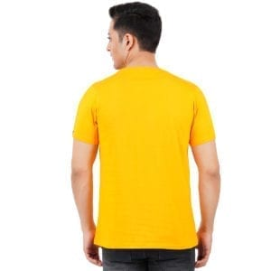 Printed Mens Round or Crew neck Chill Yellow T Shirt Back