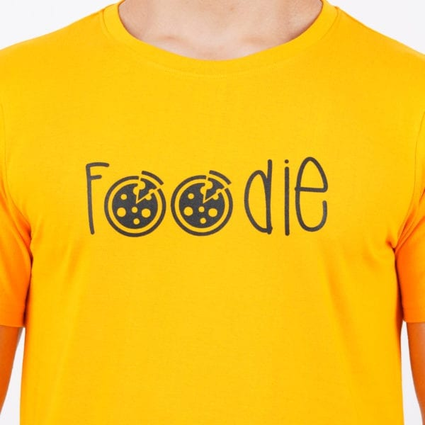 Graphic Printed Round neck Foodie Yellow T Shirt Print