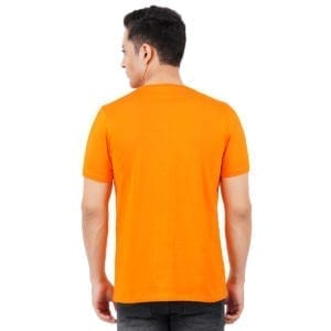 Typography Mens Round neck Chill Orange T Shirt Back