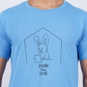 Typography Round neck Work From Home Blue T Shirt Print
