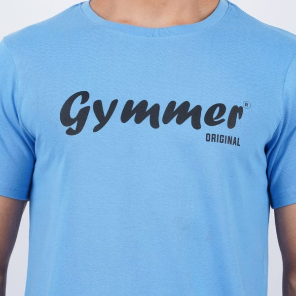 Printed Round or Crew neck Gymmer Dark Blue T Shirt Print