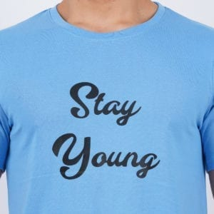 Printed Round or Crew neck Stay Young Dark Blue T Shirt Print