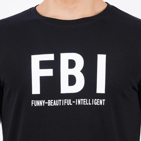 Graphic Mens Printed Round neck FBI Black T Shirt Print