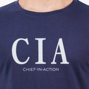 Printed Mens Round or Crew neck CIA Navy T Shirt Print