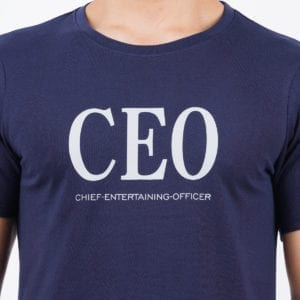 Printed Round or Crew neck CEO Navy T Shirt Print