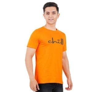 Typography Mens Round neck Chill Orange T Shirt