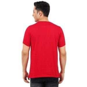 Typography Mens Round neck Gymmer Red T Shirt Back