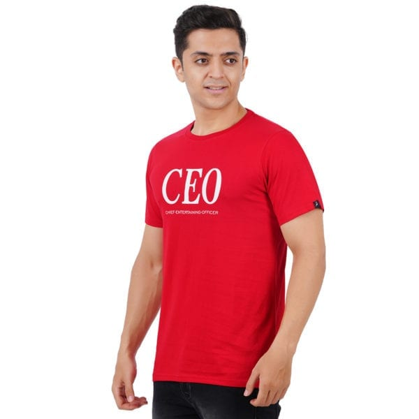 Typography Mens Round neck CEO Red T Shirt