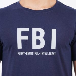 Printed Round or Crew neck FBI Navy Mens T Shirt Print