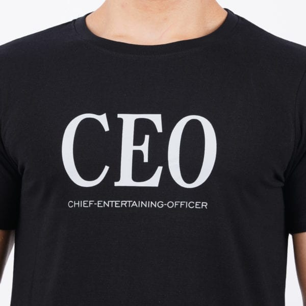 Graphic Mens Printed Round neck CEO Black T Shirt Print
