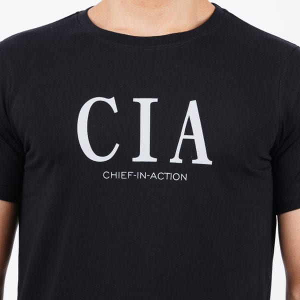 Graphic Mens Printed Round neck CIA Black T Shirt Print