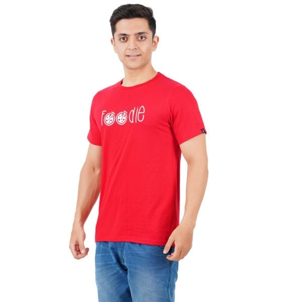 Printed Round or Crew neck Foodie Red T Shirt