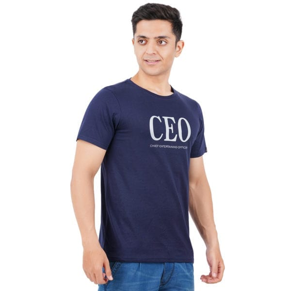 Printed Round or Crew neck CEO Navy T Shirt