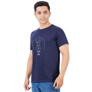 Printed Round or Crew neck Work From Home Navy T Shirt