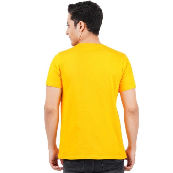 Printed Round or Crew neck Kungfu Panda Yellow T Shirt Back