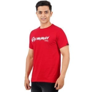 Typography Mens Round neck Gymmer Red T Shirt