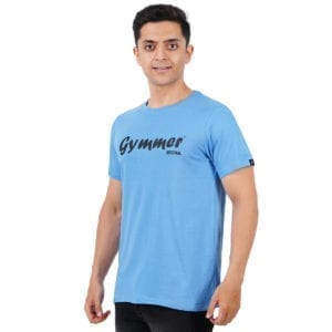 Printed Round or Crew neck Gymmer Dark Blue T Shirt