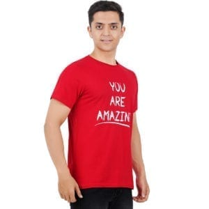 Typography Mens Round neck Amazing Red T Shirt