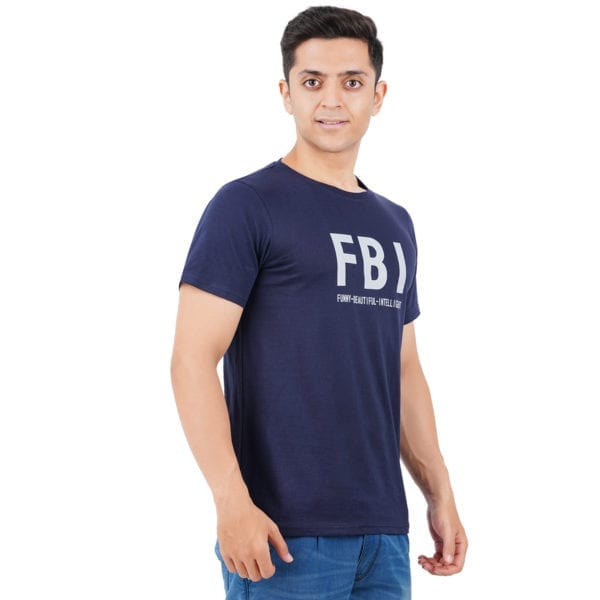 Printed Round or Crew neck FBI Navy Mens T Shirt