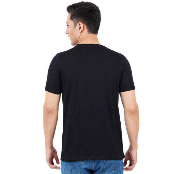 Graphic Mens Printed Round neck Gymmer Black T Shirt Back