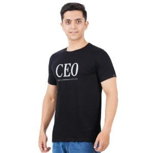 Graphic Mens Printed Round neck CEO Black T Shirt