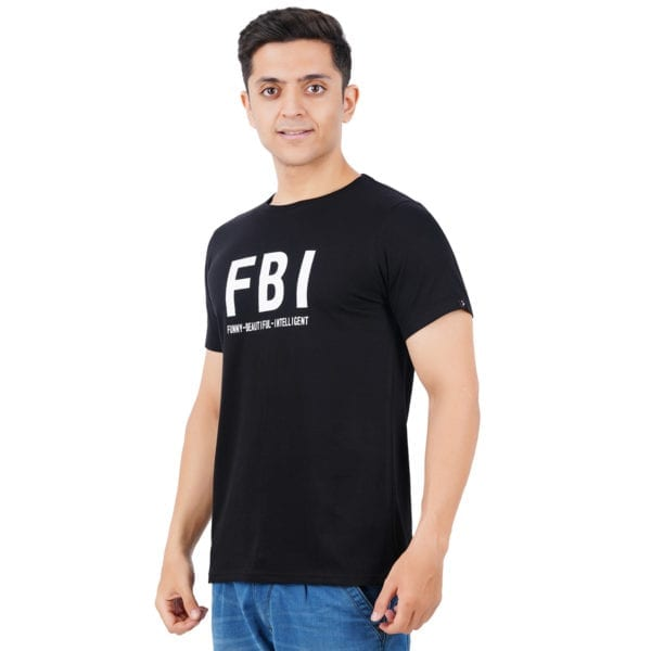 Graphic Mens Printed Round neck FBI Black T Shirt