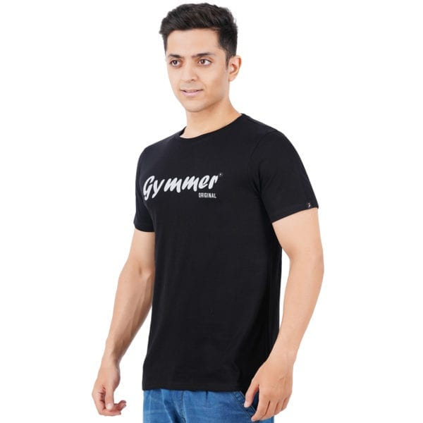 Graphic Mens Printed Round neck Gymmer Black T Shirt