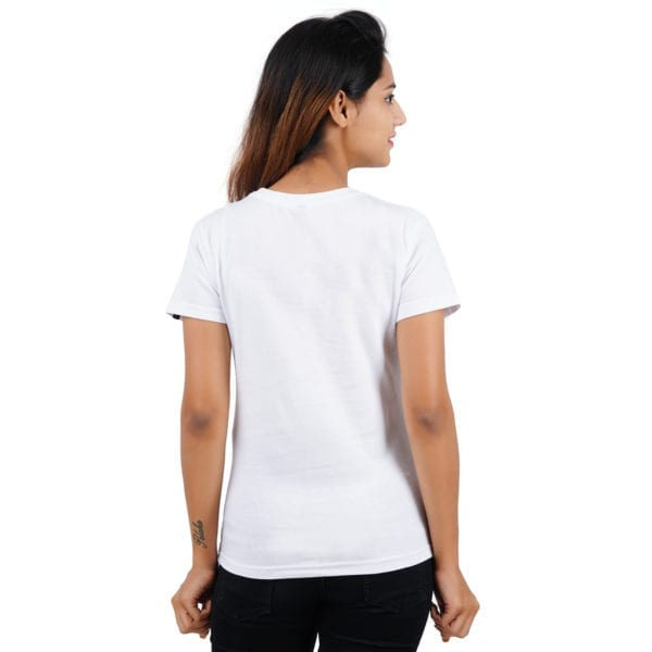 Graphic Printed Round neck Really Panda White Women T Shirt Back