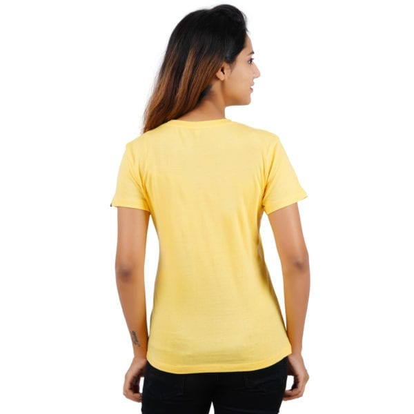 Graphic Printed Round neck WFH Yellow Women T Shirt Back