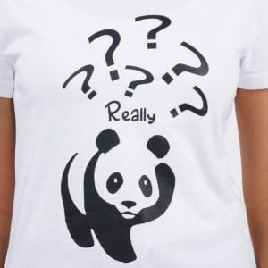 Graphic Printed Round neck Really Panda White Women T Shirt Print