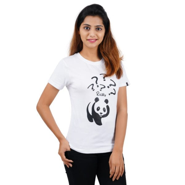 Graphic Printed Round neck Really Panda White Women T Shirt