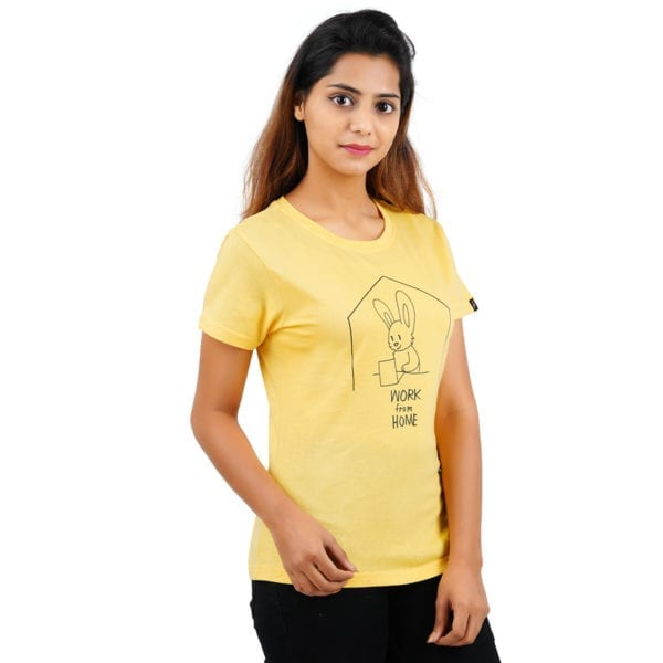 Graphic Printed Round neck WFH Yellow Women T Shirt