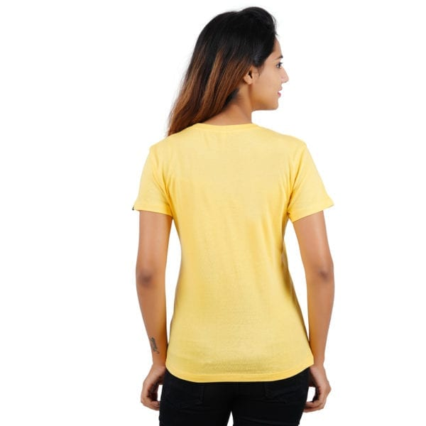 Printed Round or Crew neck Chill Yellow Womens T Shirt Back