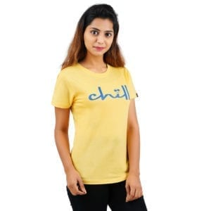 Printed Round or Crew neck Chill Yellow Womens T Shirt