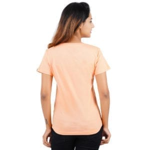 Printed Round or Crew neck Stay Young Peach Womens T Shirt Back