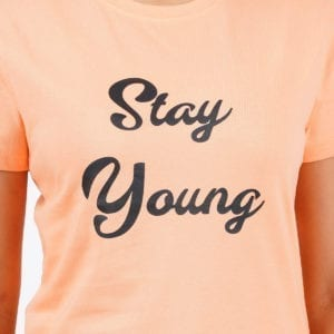 Printed Round or Crew neck Stay Young Peach Womens T Shirt Print