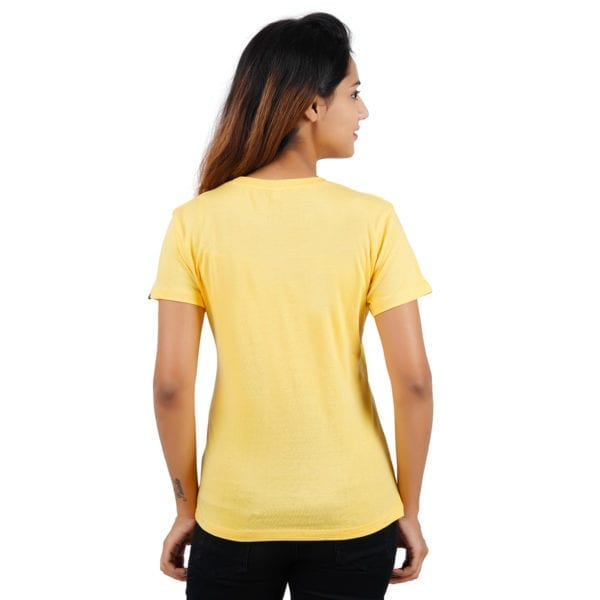 Printed Round or Crew neck Really Panda Yellow Womens T Shirt Back