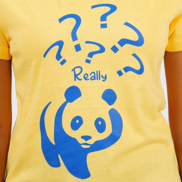 Printed Round or Crew neck Really Panda Yellow Womens T Shirt Print