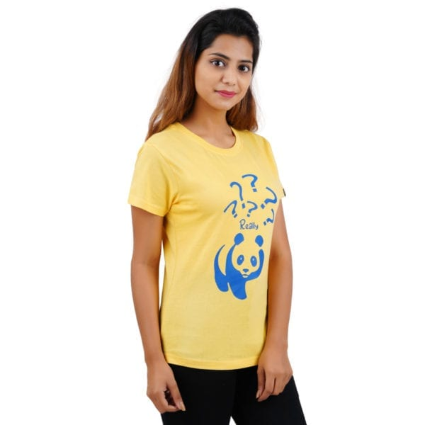 Printed Round or Crew neck Really Panda Yellow Womens T Shirt