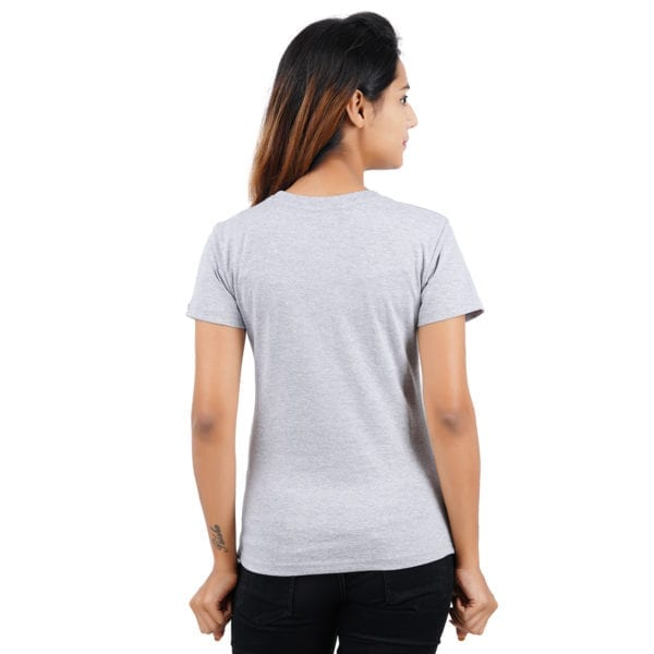 Graphic Printed Round neck Amazing Grey Melange Womens T Shirt Back