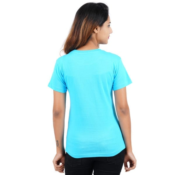 Typography Round neck Stay Young Blue Womens T Shirt Back