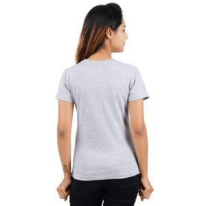 Typography Round neck FBI Grey Melange Women TShirt Back